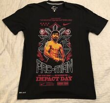 Nike Dri-Fit Manny Pacquiao Pac-Man Impact Day Black Boxing T-Shirt Men Sz Small