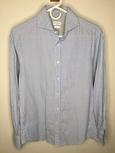 BRUNELLO CUCINELLI blue stripe oxford cloth spread collar shirt slim SMALL 15 33