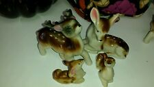BONE CHINA SPOTTED DEER FAMILY FIGURINES FROM JAPAN