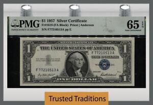 TT FR 1619 (FA BLOCK) 1957 $1 SILVER CERTIFICATE PMG 65 EPQ GEM UNCIRCULATED!