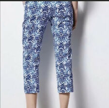 Milly New York Blue Paisley  Cropped Dress Pants Womens Size 12