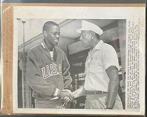 1960 AP Wirephoto-Jesse Owens Congratulates Ralph Boston Rome Olympics