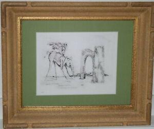 """Radierung , Bild nach Salvador Dali """"die Elefanten"""" surreal gerahmt 2/10   /*369"""