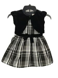 Cat & Jack Girls Dress XS (4/5) White Black Plaid Gray Classic Collection A Line