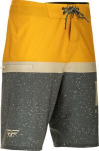 Fly Racing Board Shorts Mustard Yellow Grey Men's Size 36