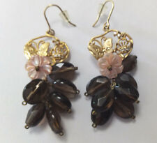 Smokey Quartz Semi Precious Stone Cluster  Earrings