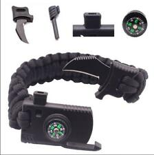 Survival Bracelet Paracord Knife Whistle Magnesium Fire Starter Compass Kits H01