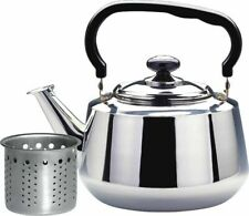 3 L Stainless Steel Whistling Tea Kettle with Strainer Water Pot Heat Boiler