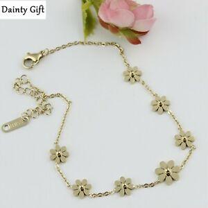 """Women Girl Titanium Stainless Steel Gold Daisy Flower Anklet Foot Bracelet 8-10"""""""