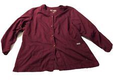 Grey'S Anatomy 2Xl Scrub Jacket Top Burgundy Maroon Plus size Barco Uniform