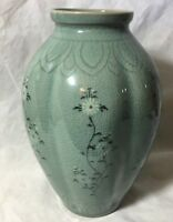 """Vintage  Vase  Green with White Flowers on Vines  Asian  7"""" crazing"""