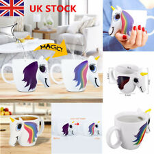 Rainbow Unicorn Mug 3D Color Changing Heat Sensitive Magic Ceramic Coffee Cups