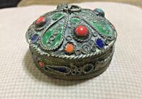 RARE Antique Chinese Brass Inlaid Coral Beads Beautiful Trinket Box Jewelry