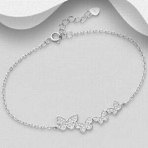 925 Sterling Silver CZ Clear Zirconia Five Butterfly Cluster Bracelet Women