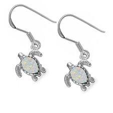 White Opal Turtle .925 Sterling Silver Earrings