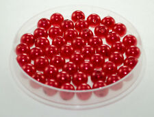 10 Perles imitation 10mm Rouge Perle de Culture, Creation Bijoux, Collier,