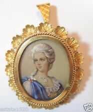 Vintage Art Deco Fine Jewelry Corletto 18K Yellow Gold Hand Painted Pin Pendant