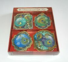 Punch Studio 16 Peacock Feather Ornament Dimensional Gift Tags Boxed New