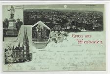 Mondschein-Litho Wiesbaden, Ring Kirche, Denkmal Bodenstedt + Wilhelm gel. 1898