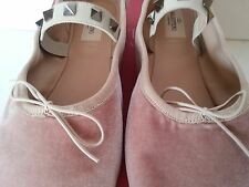 NEW Valentino Garavani Rockstud Velvet Ballerina Flat Pink Nude Size 40