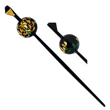 Japanese Hair Ornament Kanzashi Black Ball Stick Chrysanthemum Flower