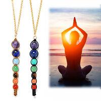 Womens 7 Chakra Natural Reiki Healing Gemstone Beads Point Pendant Yoga Necklace