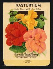 NASTURTIUM, Couble Gleam, Everitt's Antique Seed Packet, Kitchen Decor, 103
