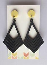Statement Dangle Earrings, Yellow Acrylic &  Black Wood, Surgical Stud, Light