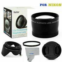 2X TELEPHOTO +UV FILTER+HOOD + CAP FOR NIKON D3100 D3000 D3200 D3300 D5000 D90