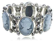 Vintage Smokey Grey Crystal Rhinestone Cameo Maiden Stretch Bracelet Clr