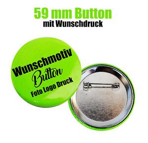 1x Button 59 mm mit Wunschmotiv bedrucken - Buttons drucken - Logo - Foto - Text