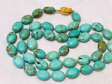 VINTAGE CHINESE 100% NATURAL BLUE TURQUOISE BEAD NECKLACE, 58 GRAMS