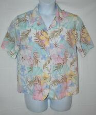 Alfred Dunner Women's Light Pastel Floral Pattern Short Sleeve Blouse - Size 14