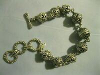 Sarda 9 Sterling Silver Grad Filigree Openwork Bali Bead Spheres Link Bracelet