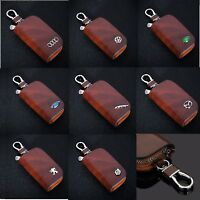 Leather Car logo Keyfob KeyChain Key Case wallet bag Remote Control Case Brown