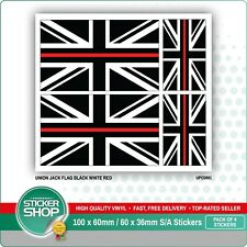 4 x UNION JACK FLAG BLACK WHITE RED / BRITISH VINYL CAR VAN IPAD LAPTOP STICKER