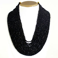 AAA 520.00 CTS NATURAL 15 STRAND RICH BLACK SPINEL ROUND CUT BEADS NECKLACE