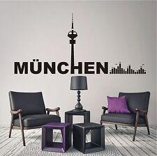 WANDTATTOO Wandaufkleber Skyline München Musik Equalizer Retro Wohnzimmer 567