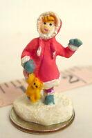 Little Girl  n Teddy Bear Christmas Grandeur Noel Victorian Village 1995 mini