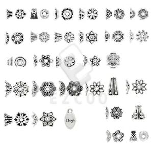 50-500pcs Tibetan Silver Metal Beads End Caps Jewelry Findings DIY 31 Style CA