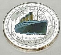 Titanic Silver Coin Ship Sank in 1912 2012 Queen Elizabeth II Tuvalu Compass USA