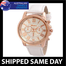 GENEVA FASHION DRESS WATCH Womens Ladies White Faux Leather Strap Rose Gold 41