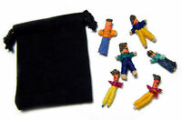 Six (6) Guatemalan WORRY DOLLS in Black Pouch with Description Card