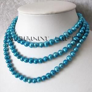 """50"""" 8-9mm Deep Sky Blue Freshwater Pearl Necklace Strand"""