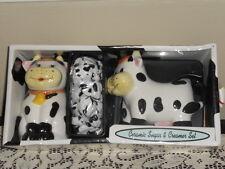 Ceramic Sugar and Creamer Set: Cows, new  in the box
