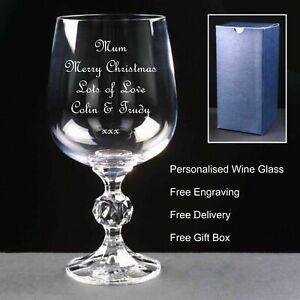 Personalised 12oz Crystal Wine Glass, Secret Santa Gift, ( Free Engraving )