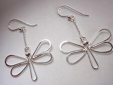 Butterfly on Chain Earrings 925 Sterling Silver Dangle Corona Sun Jewelry