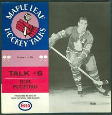 Bob Pulford 1966-67 Esso '66 Toronto Maple Leaf Hockey Talks #6 Record NM
