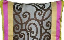Designers Guild Cushion Cover Silk Benucci Fabric Pink Taupe Gold Rectangular
