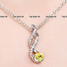 Gold Citrine Diamond Silver Necklace Infinity Love Xmas Gift for Her Women J1
